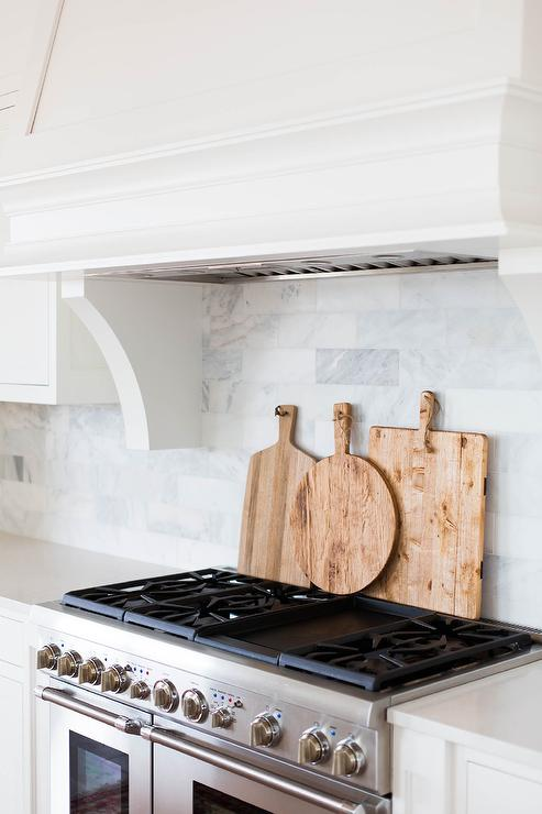 Kitchen Island Tray Cutting Board Behind Stove - Transitional - Kitchen