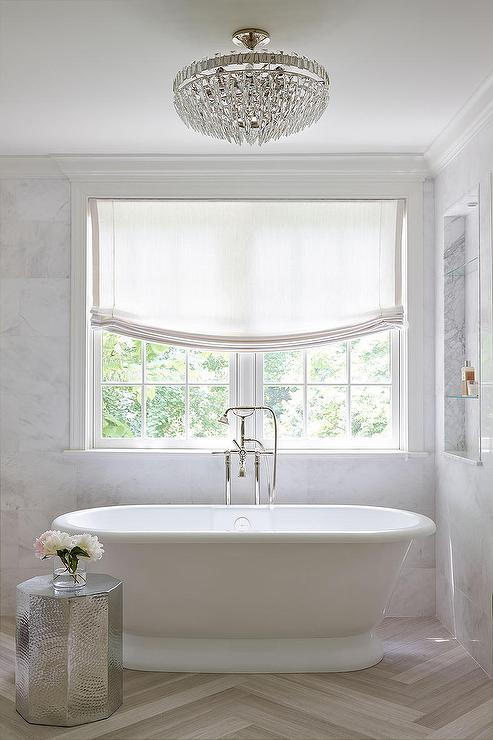 Marble niche shelves over tub transitional bathroom