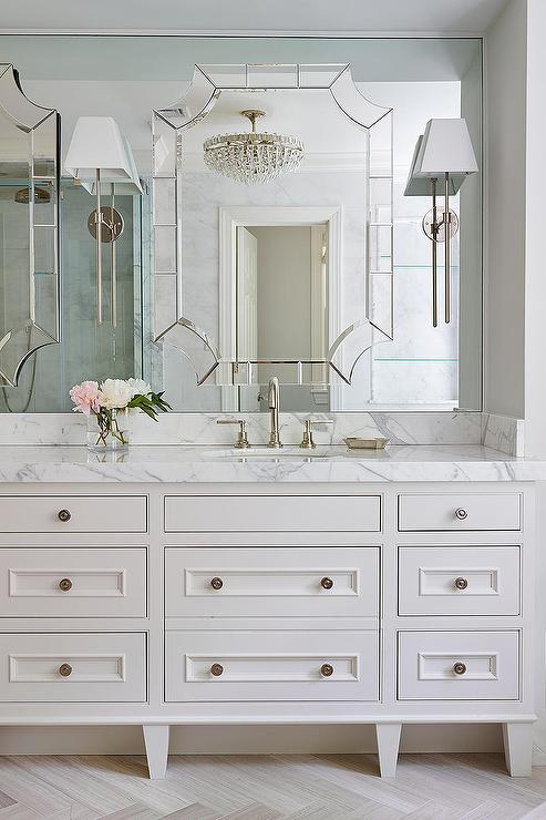 Master Bathroom With Mirror On Top Of Mirror Transitional Bathroom