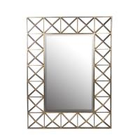 Privilege Square Beveled Glass Gold Wall Mirror