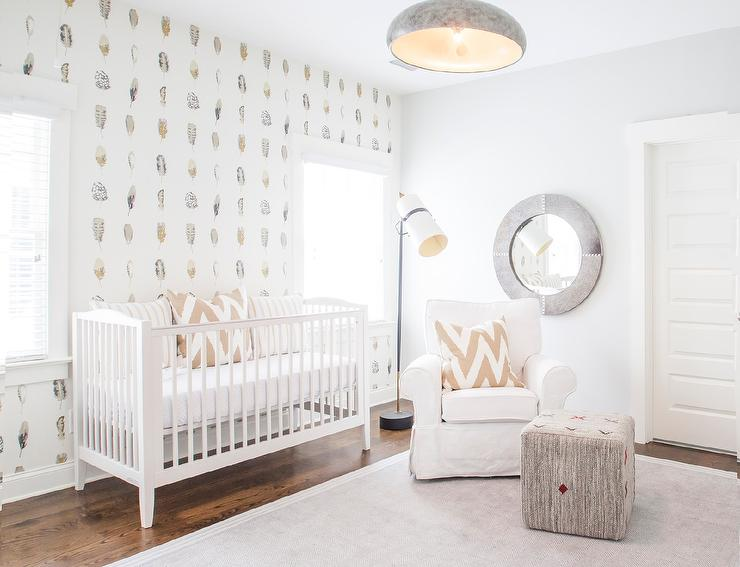 Girl Room Wallpaper And Fablic With Animal White And Tan Gender Neutral Nursery Transitional Nursery