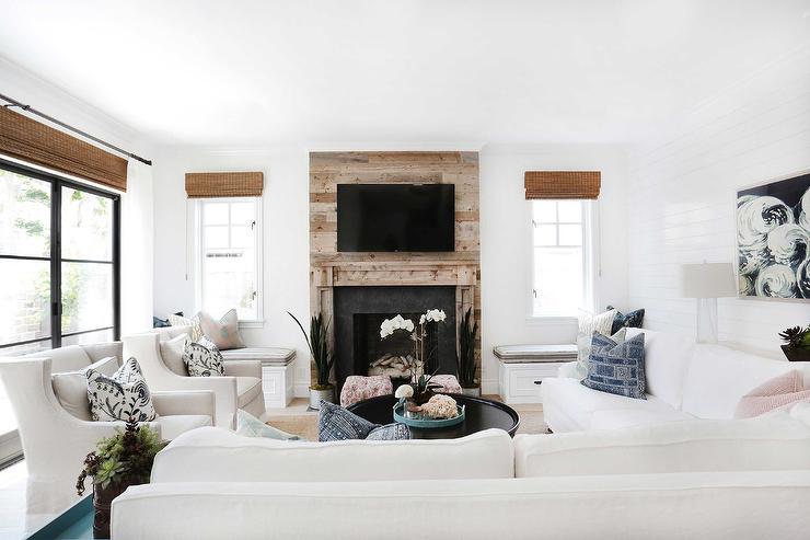 White Living Room Furniture Transitional Living Room