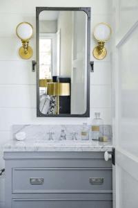Gray and Gold Bathroom Design - Transitional - Bathroom