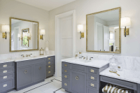 Gray Bathroom Vanity with Gold Campaign Hardware ...