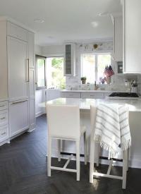 Kitchen with Dark Stained Herringbone Floor - Transitional ...