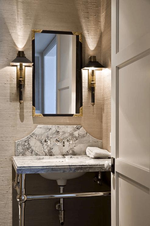 Black Marble Wallpaper Powder Room Vanity With Curved Marble Backsplash