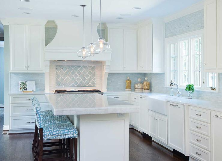 white turquoise blue kitchen features glass pendants kitchen ideas modern kitchen backsplash ideas furniture