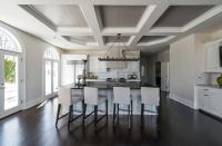 Grey Coffered Kitchen Ceiling - Transitional - Kitchen