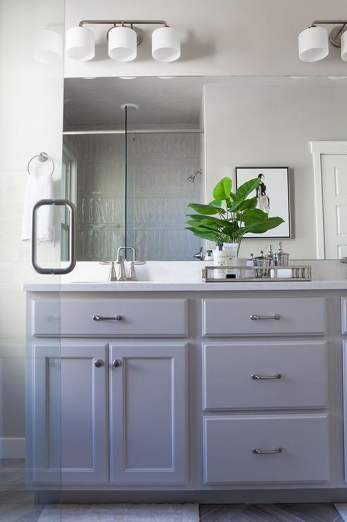 Grey Painted Bathroom Cabinets with Satin Nickel Pulls
