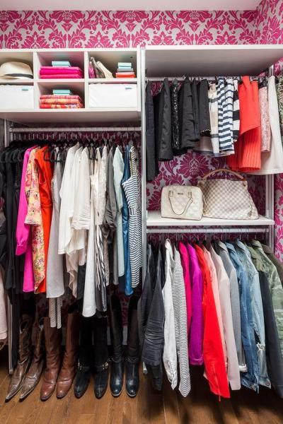 Hot Pink Grasscloth - Contemporary - closet - The Coveteur