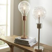 Edison Table Lamp in Bushed Chrome or Brushed Copper