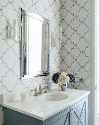 Gray Bathroom with Quatrefoil Wallpaper - Transitional ...