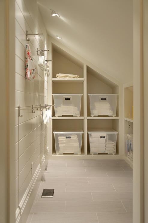 Baby Girl Bedroom Wallpaper Laundry Room With Sloped Ceiling And Built In Cubbies