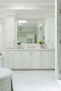 White Shaker Vanity Cabinets with Satin Nickel Hardware ...