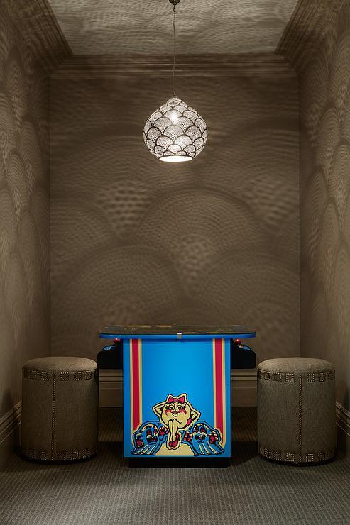 Machine Girl Wallpaper Basement Video Game Room Transitional Basement