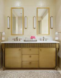Cream Washstand with Ornate Cabinet Doors and Honed Gray ...