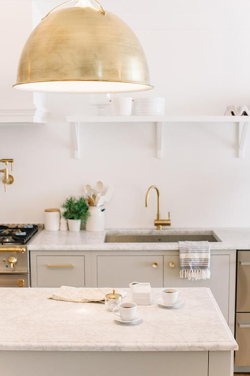 Antique Brass Kitchen Faucet Gray And Gold Kitchen Design - Transitional - Kitchen