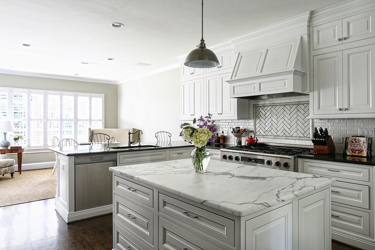 Kitchen Island With Sink And Dishwasher Kitchen With White Mini Subway Tiles - Transitional - Kitchen