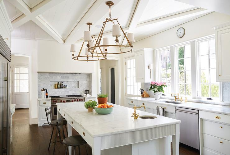 Beautiful Kitchens With Islands Etoile Round Chandelier - Transitional - Kitchen