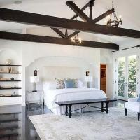 Dark Stained Vaulted Bedroom Ceiling with Wood Beams ...