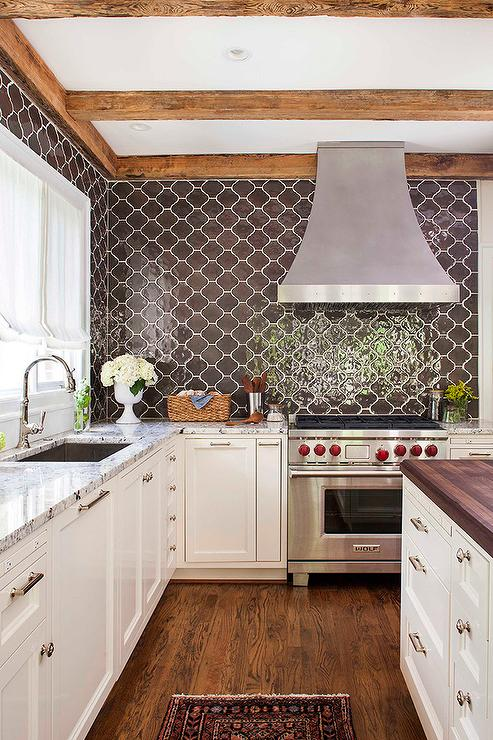White Kitchen Island With Butcher Block Top Kitchen With Brown Moroccan Tiles Backsplash