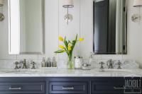 Navy Dual Bathroom Vanity with White Marble Top ...
