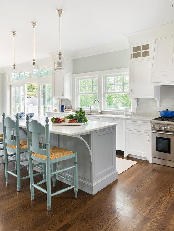 Stainless Steel Topped Kitchen Islands Turquoise Blue Counter Stools With Rush Seats - Cottage