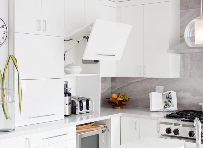 Kitchen With Garage Door Small Appliances Cabinet