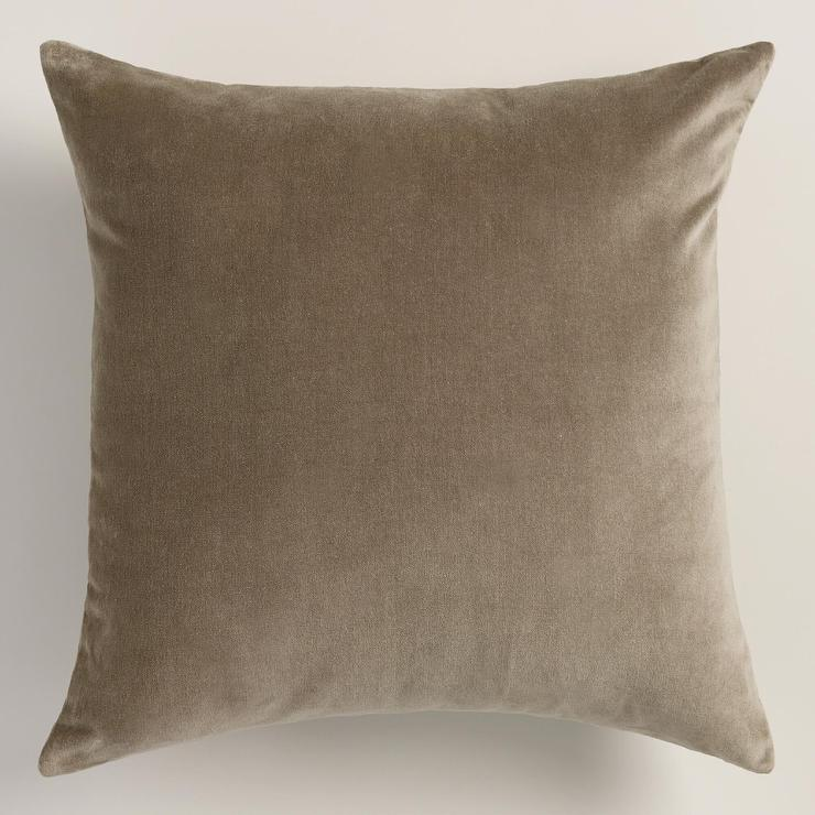 Laundry Room Lighting Walnut Taupe Velvet Throw Pillow