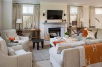 Grey Living Room with Orange Accents - Transitional ...