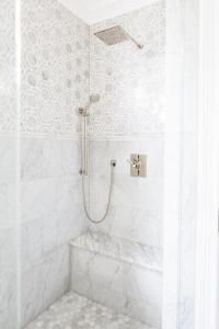 Grey Marble Shower Bench Design Ideas