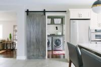 Laundry Room with Gray Barn Door on Rails - Cottage ...
