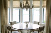 Round Dining Table with Gray Dining Chairs - Transitional ...