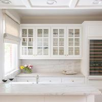 Glass Front Kitchen Cabinets with Gold Knobs ...