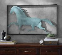 Running Horse Wall Art in Teal
