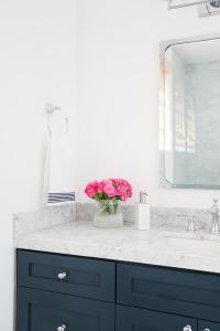 Navy Bathroom Vanity with Industrial Rivet Medicine ...