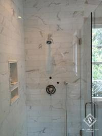 Long Marble Shower Tiles with Niche - Transitional - Bathroom