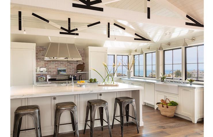 cottage kitchen features white truss ceiling long kitchen awesome kitchen backsplash ideas decoholic