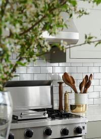 White Kitchen Subway Tiles with Dark Grout - Contemporary ...