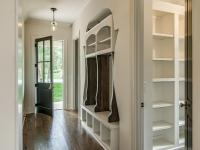 Mudroom with Barn Wood Sliding Door - Cottage - Laundry Room