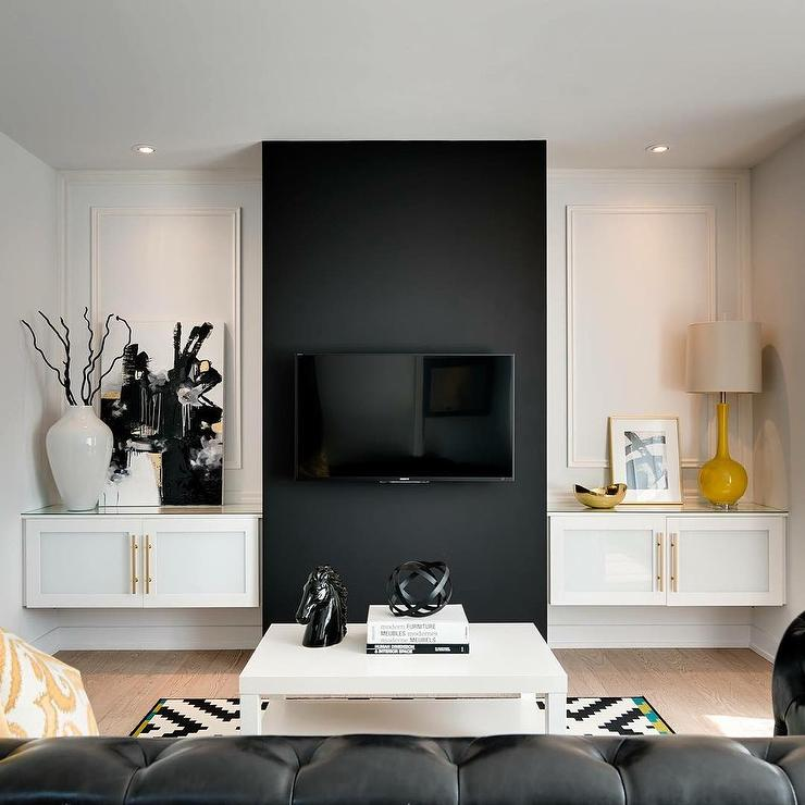 Living Room Black Accent Wall Design Ideas - accent wall in living room