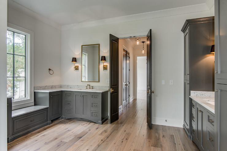 Black Beadboard Wallpaper Gray Mediterranean Bathroom Design Mediterranean Bathroom