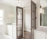 Gray French Bathroom Doors with Polished Nickel Door Knobs ...