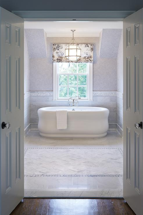 Free Standing Tub Tub Nook With Marble Wainscoting - Traditional - Bathroom