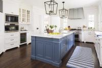 Blue Kitchen Island with Calacatta Gold Extra Marble ...