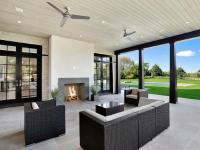 Covered patio with Gray Modern Outdoor Fireplace ...