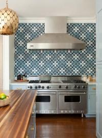 Blue Kitchen Cabinets with Blue Mosaic Tile Backsplash ...