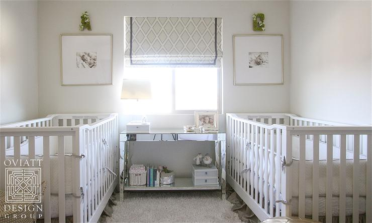 Wallpaper Ideas For Baby Girl Nursery Cribs Facing Each Other With Mirrored Console Table