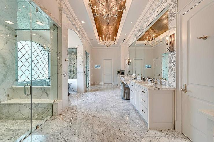 Fall Ceiling Wallpaper Design Grand Master Bathroom With Gold Barrel Ceiling