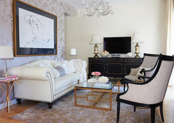 Black And Gold French Tv Cabinet With Flatscreen Tv